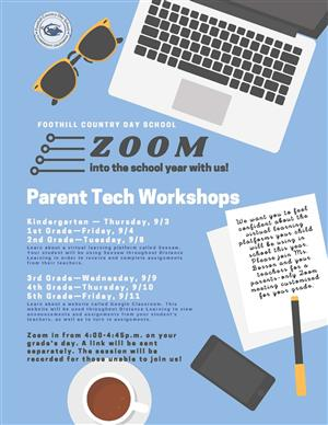 graphic computers and coffee with a text schedule for Parent Tech Workshops
